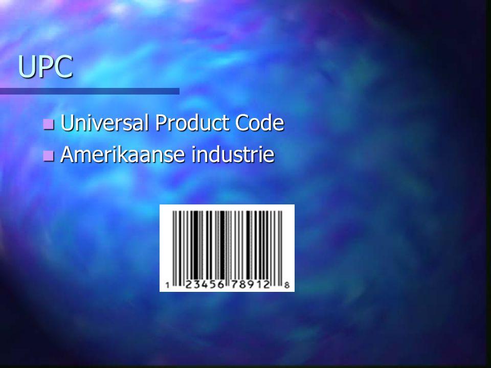 UPC Universal Product Code Universal Product Code Amerikaanse industrie Amerikaanse industrie