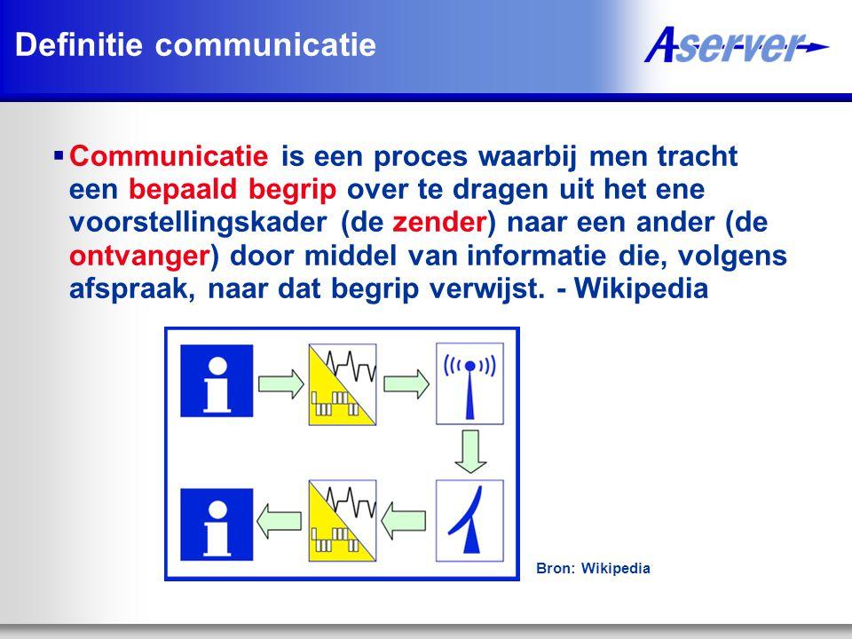 Definitie communicatie  Communicatie is een proces waarbij men tracht een bepaald begrip over te dragen uit het ene voorstellingskader (de zender) naar een ander (de ontvanger) door middel van informatie die, volgens afspraak, naar dat begrip verwijst.