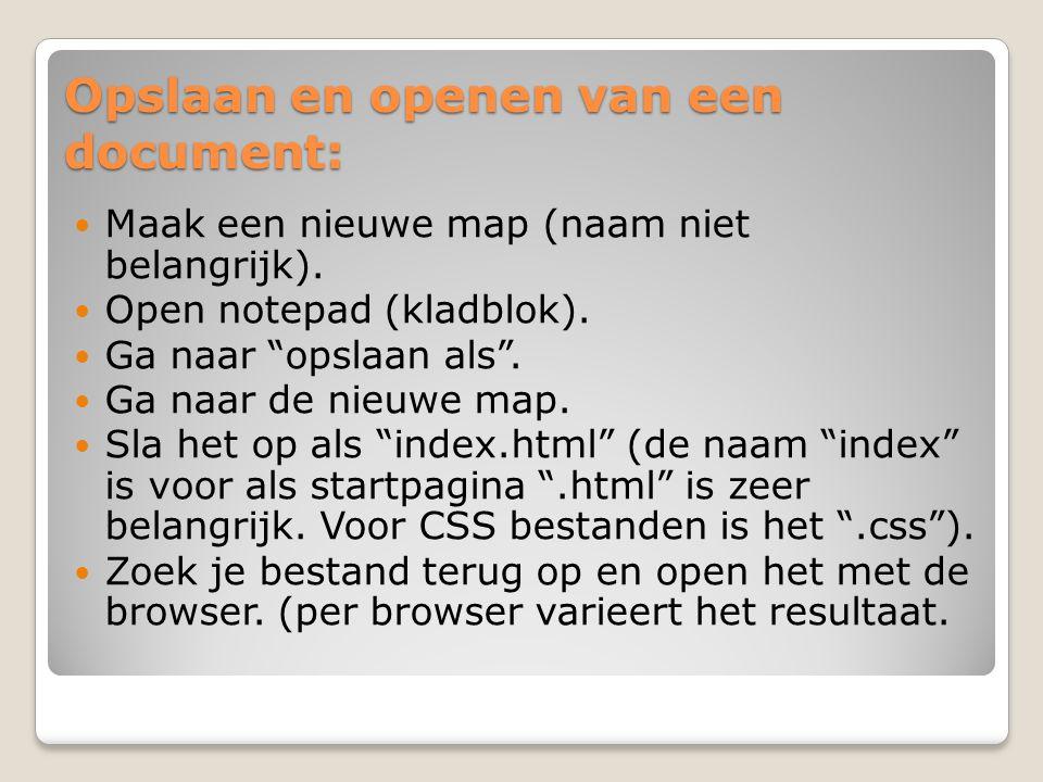 """Opslaan en openen van een document: Maak een nieuwe map (naam niet belangrijk). Open notepad (kladblok). Ga naar """"opslaan als"""". Ga naar de nieuwe map."""