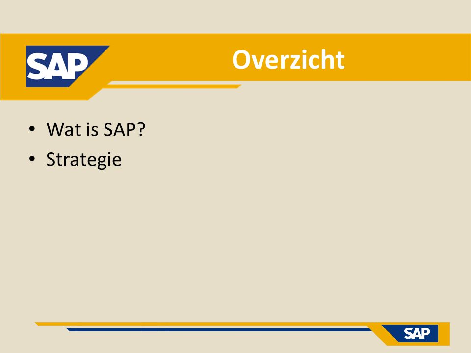 Overzicht Wat is SAP? Strategie