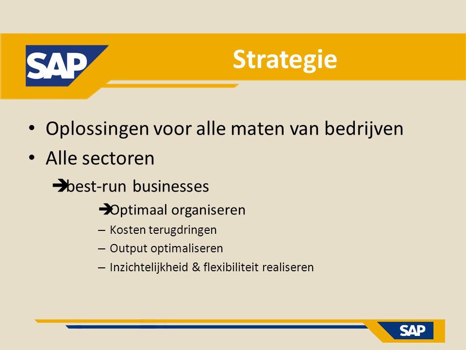 Strategie Oplossingen voor alle maten van bedrijven Alle sectoren  best-run businesses  Optimaal organiseren – Kosten terugdringen – Output optimali
