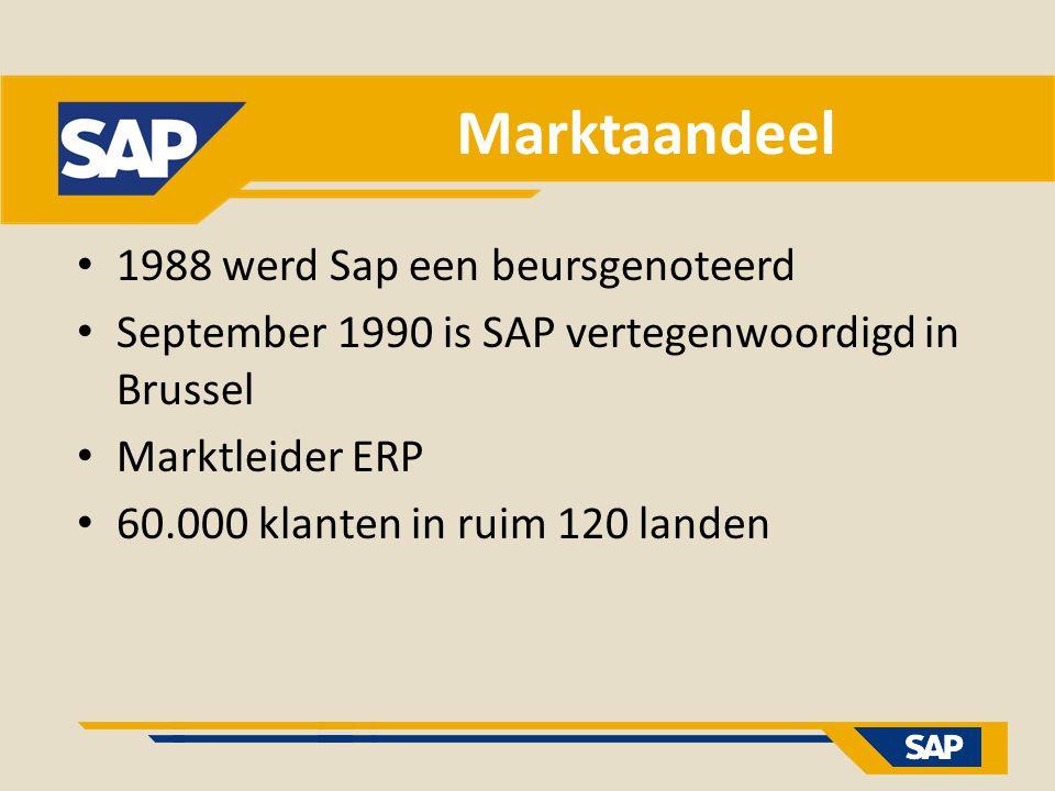 Marktaandeel 1988 werd Sap een beursgenoteerd September 1990 is SAP vertegenwoordigd in Brussel Marktleider ERP 60.000 klanten in ruim 120 landen