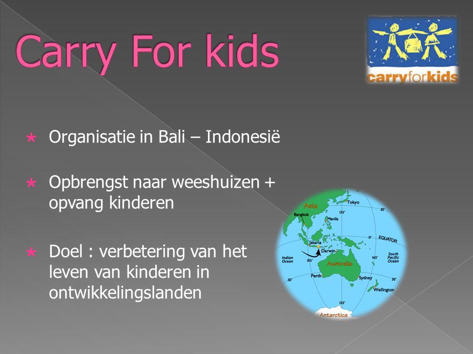  Organisatie in Bali – Indonesië  Opbrengst naar weeshuizen + opvang kinderen  Doel : verbetering van het leven van kinderen in ontwikkelingslanden