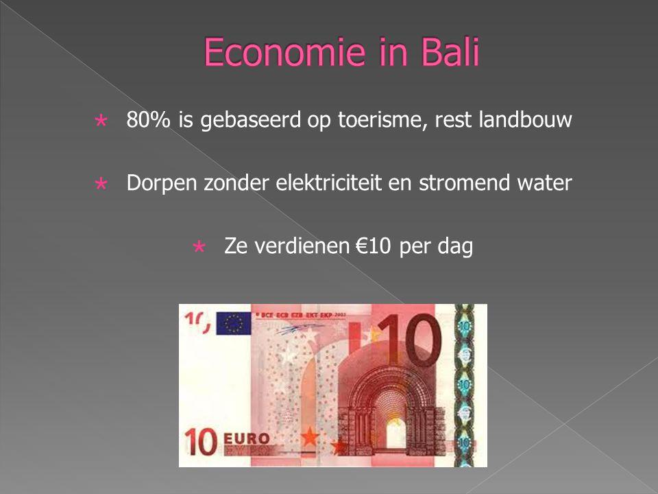  80% is gebaseerd op toerisme, rest landbouw  Dorpen zonder elektriciteit en stromend water  Ze verdienen €10 per dag
