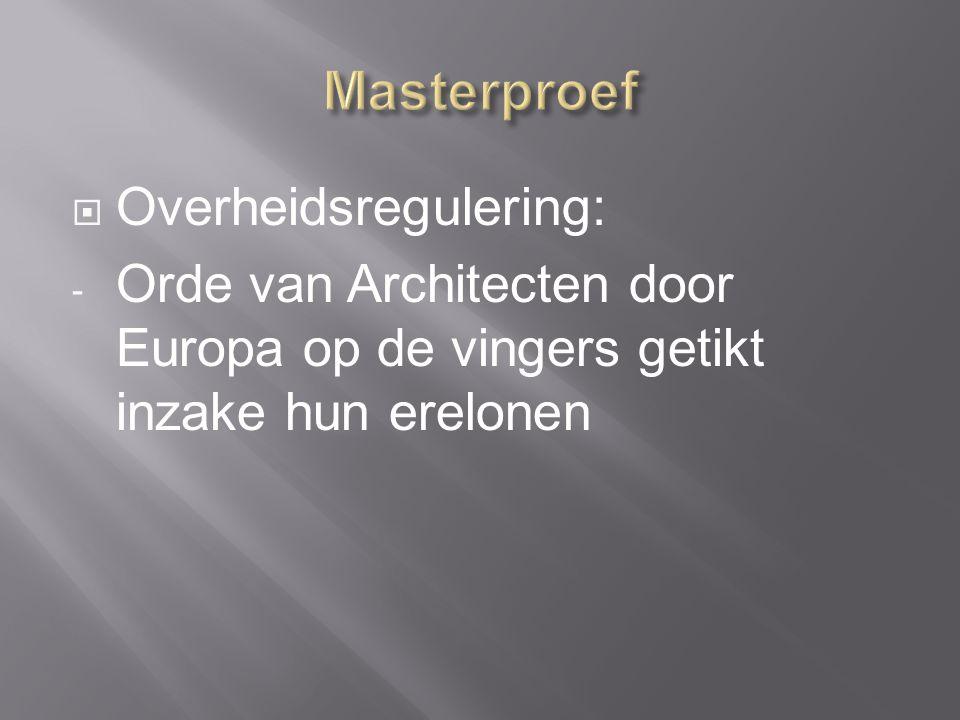  Overheidsregulering: - Orde van Architecten door Europa op de vingers getikt inzake hun erelonen