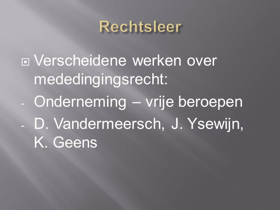  Verscheidene werken over mededingingsrecht: - Onderneming – vrije beroepen - D.