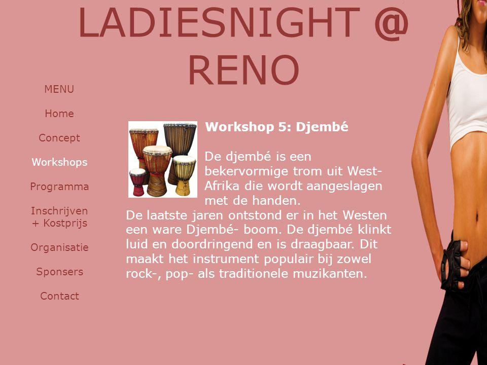 Workshop 5: Djembé De djembé is een bekervormige trom uit West- Afrika die wordt aangeslagen met de handen. De laatste jaren ontstond er in het Westen