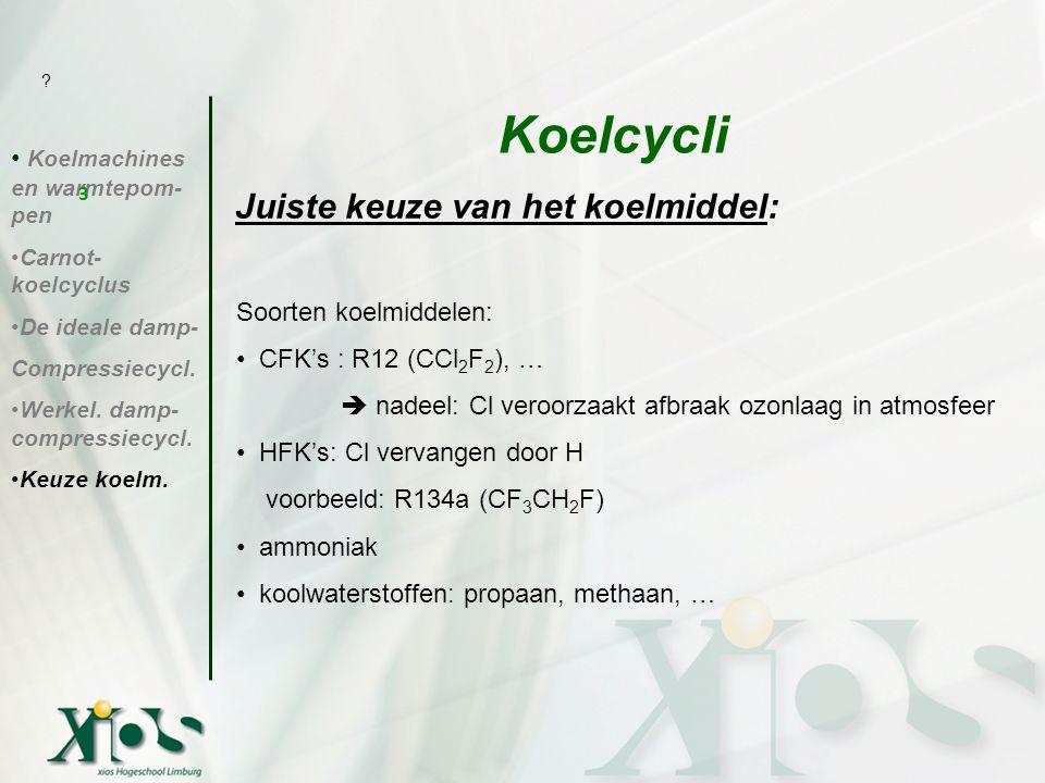 Soorten koelmiddelen: CFK's : R12 (CCl 2 F 2 ), …  nadeel: Cl veroorzaakt afbraak ozonlaag in atmosfeer HFK's: Cl vervangen door H voorbeeld: R134a (