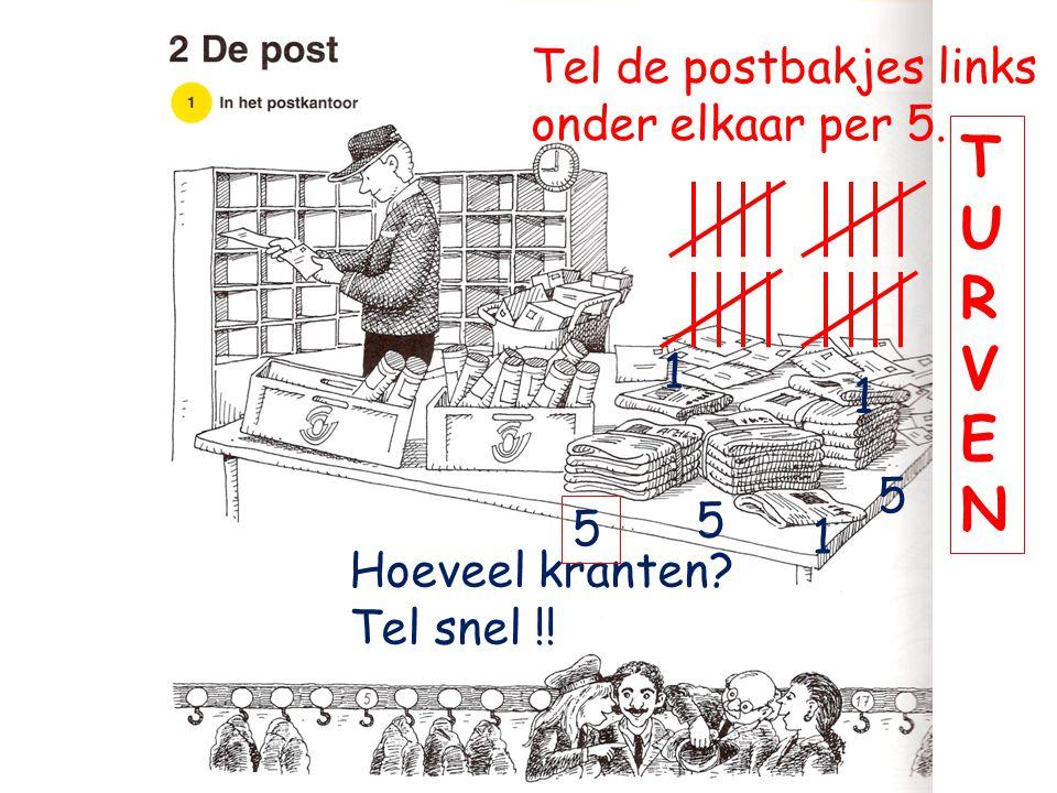 Tel de postbakjes links onder elkaar per 5. Hoeveel kranten? Tel snel !! 5 5 5 1 1 1 TURVENTURVEN