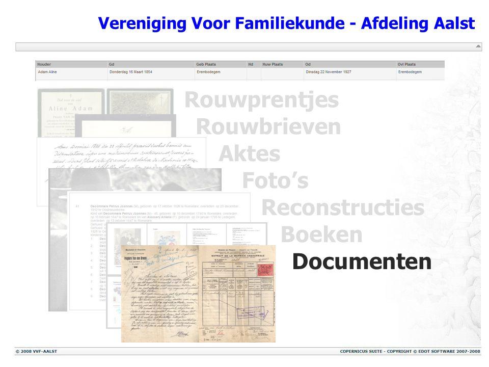 Vereniging Voor Familiekunde - Afdeling Aalst Rouwprentjes Rouwbrieven Aktes Foto's Reconstructies Boeken Documenten
