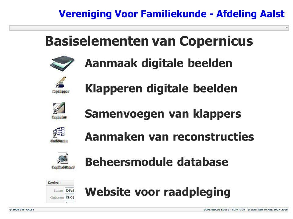 Vereniging Voor Familiekunde - Afdeling Aalst Basiselementen van Copernicus Website voor raadpleging Beheersmodule database Aanmaken van reconstructie