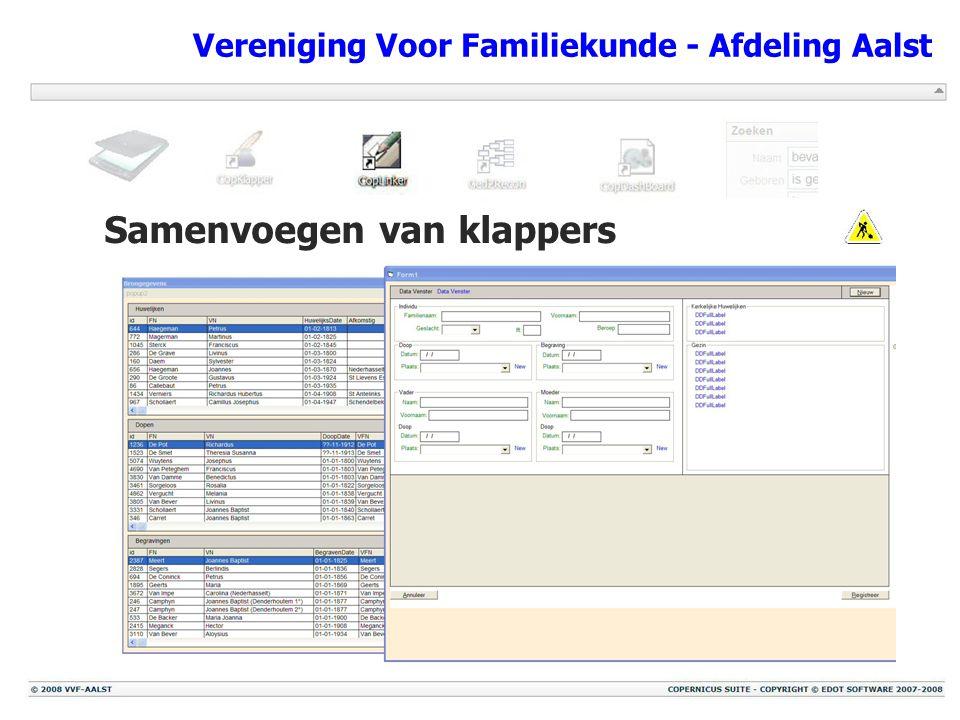Vereniging Voor Familiekunde - Afdeling Aalst Samenvoegen van klappers