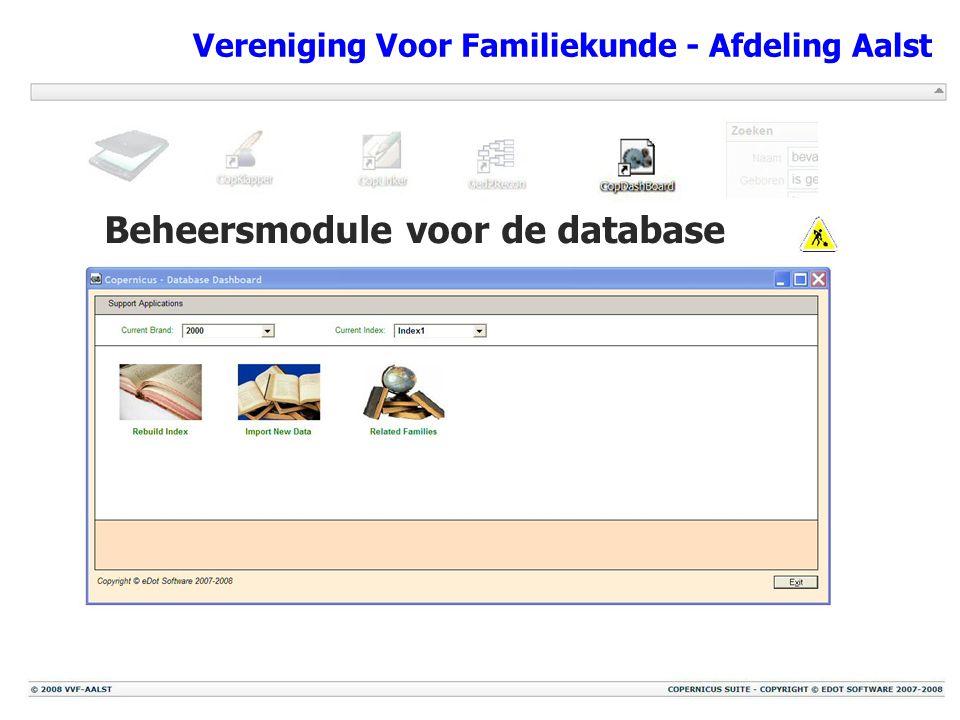 Vereniging Voor Familiekunde - Afdeling Aalst Beheersmodule voor de database