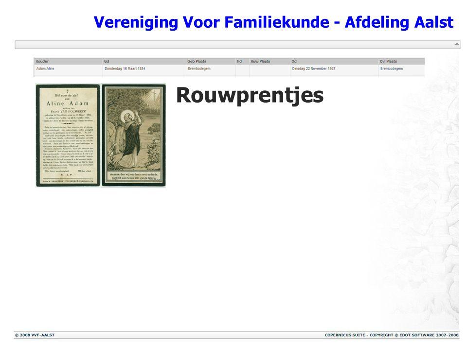 Vereniging Voor Familiekunde - Afdeling Aalst Rouwprentjes Rouwbrieven