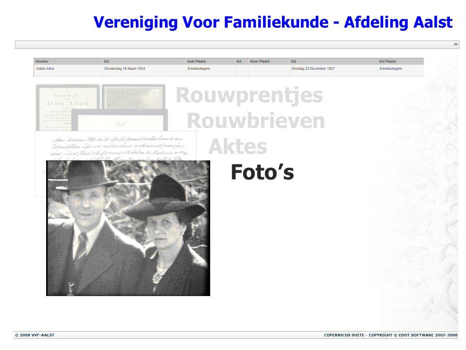 Vereniging Voor Familiekunde - Afdeling Aalst Rouwprentjes Rouwbrieven Aktes Foto's Reconstructies