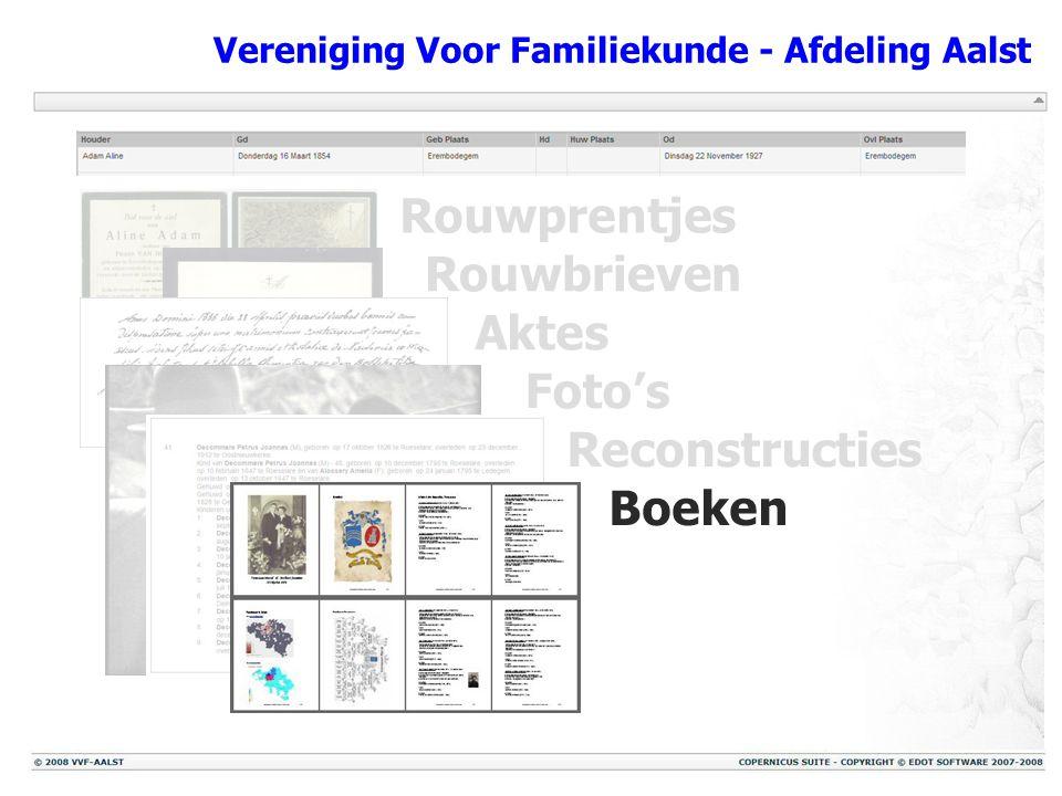 Vereniging Voor Familiekunde - Afdeling Aalst Rouwprentjes Rouwbrieven Aktes Foto's Reconstructies Boeken