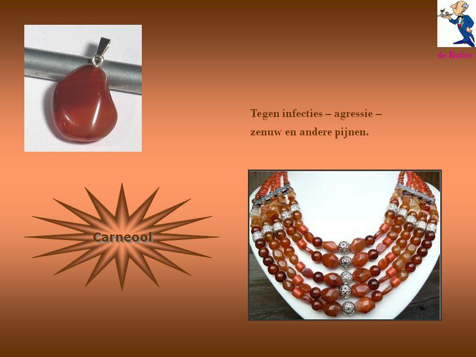 Carneool Tegen infecties – agressie – zenuw en andere pijnen. de Butler