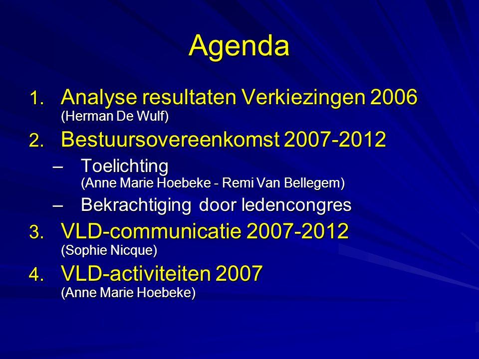 Agenda 1. Analyse resultaten Verkiezingen 2006 (Herman De Wulf) 2. Bestuursovereenkomst 2007-2012 –Toelichting (Anne Marie Hoebeke - Remi Van Bellegem