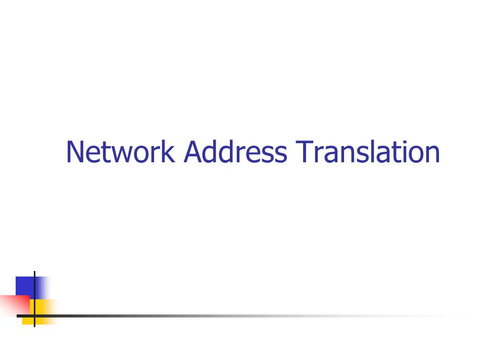 Network Address Translation Producten Software NAT routers Freesco( ~ Linux on a floppy) Linux IP Masquerading WinRoute (Tiny Software) Windows : Internet Connection Sharing Win 2000 Server : NAT ( => Networking Services) Hardware NAT routers vb.