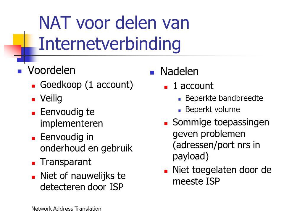 Network Address Translation NAT voor delen van Internetverbinding Voordelen Goedkoop (1 account) Veilig Eenvoudig te implementeren Eenvoudig in onderh