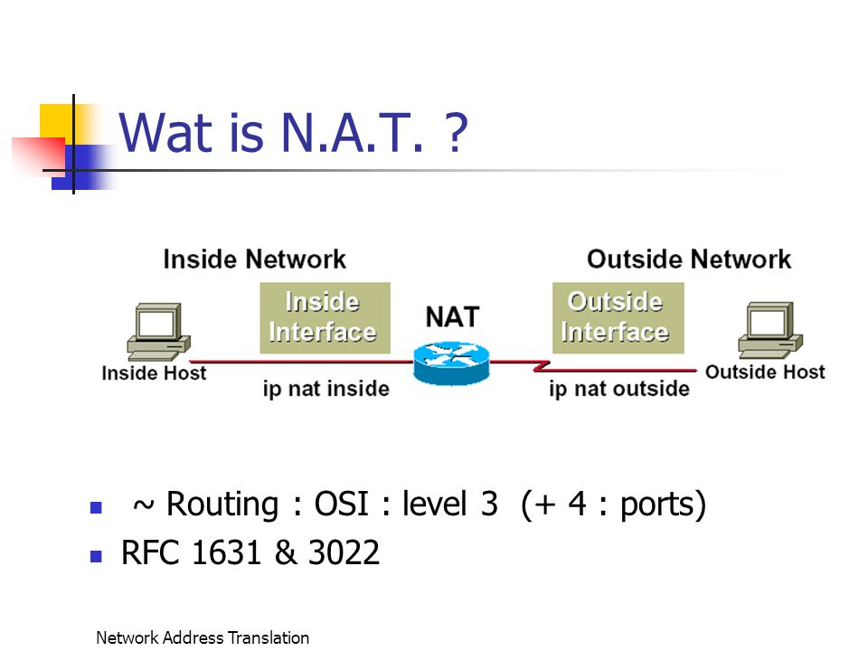 Network Address Translation Producten (vervolg) NAT Software dikwijls gecombineerd met DNS server of DNS caching, forwarding DHCP server of DHCP Relay Server Als onderdeel van een firewall Vb.