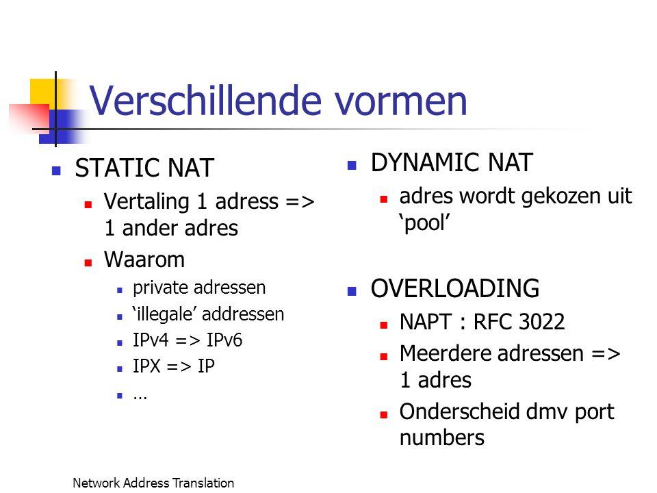Network Address Translation NAT configureren (win2000) Interfaces configureren :.