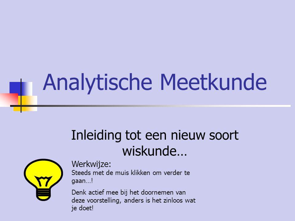 Analytische Meetkunde Inleiding tot een nieuw soort wiskunde… Werkwijze: Steeds met de muis klikken om verder te gaan….