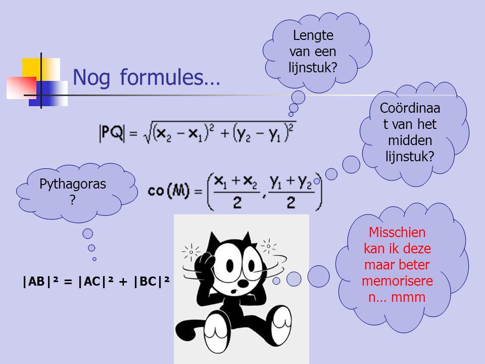 Opstellen vergelijking van een rechte Als de 2 snijpunten met de assen gegeven zijn: Als de rico en één coördinaten- koppel gegeven zijn: Als 2 coördinaten- koppels gegeven zijn: Gebruik steeds de snelste methode!