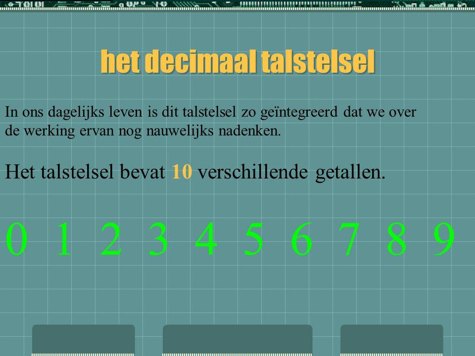 Er bestaan verschillende talstelsels  decimaal talstelsel :talstelsel met 10 verschillende getallen, het grondtal is dus 10  binair talselsel : tals