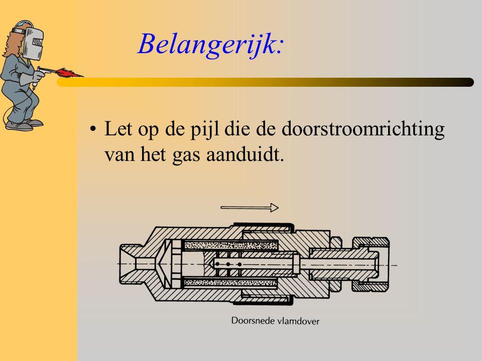 Belangerijk: Let op de pijl die de doorstroomrichting van het gas aanduidt.