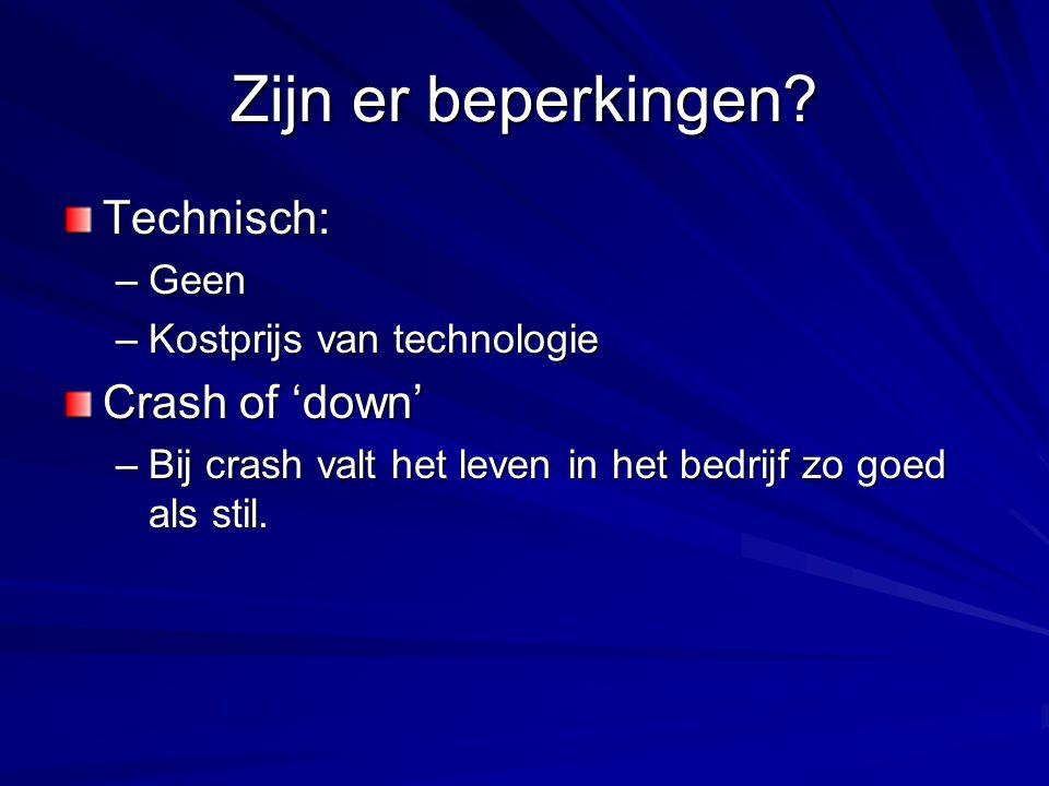 Zijn er beperkingen? Technisch: –Geen –Kostprijs van technologie Crash of 'down' –Bij crash valt het leven in het bedrijf zo goed als stil.