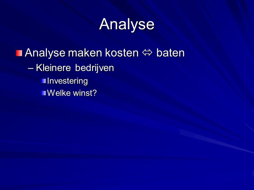 Analyse Analyse maken kosten  baten –Kleinere bedrijven Investering Welke winst?