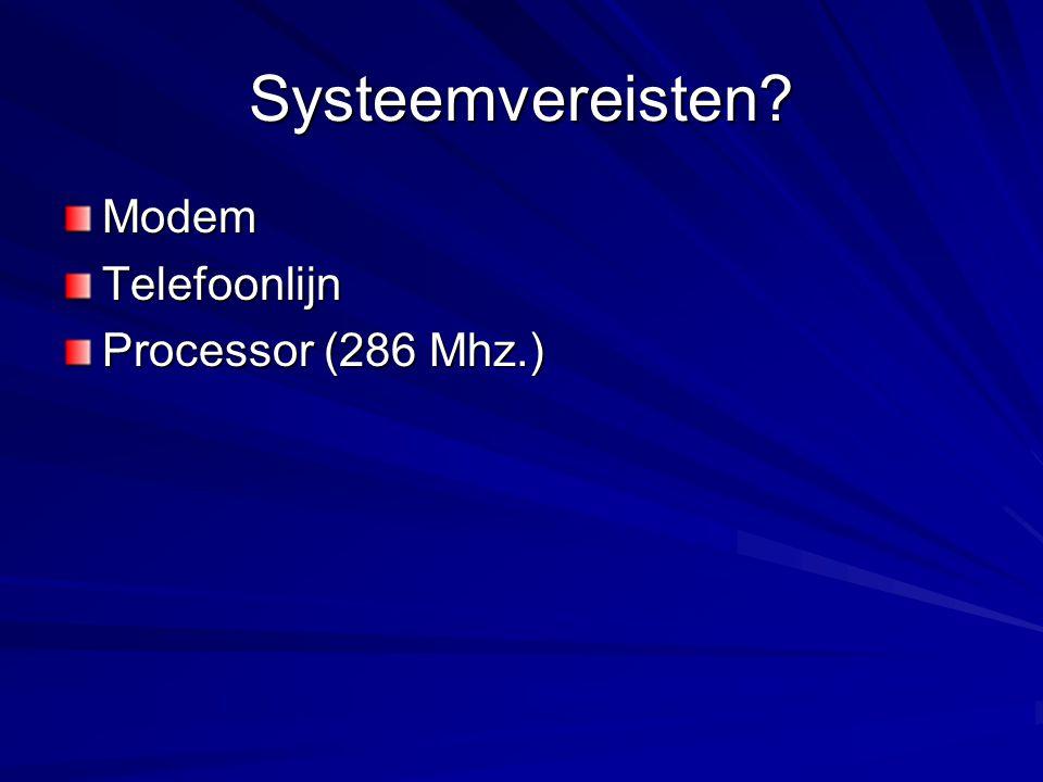 Systeemvereisten? ModemTelefoonlijn Processor (286 Mhz.)