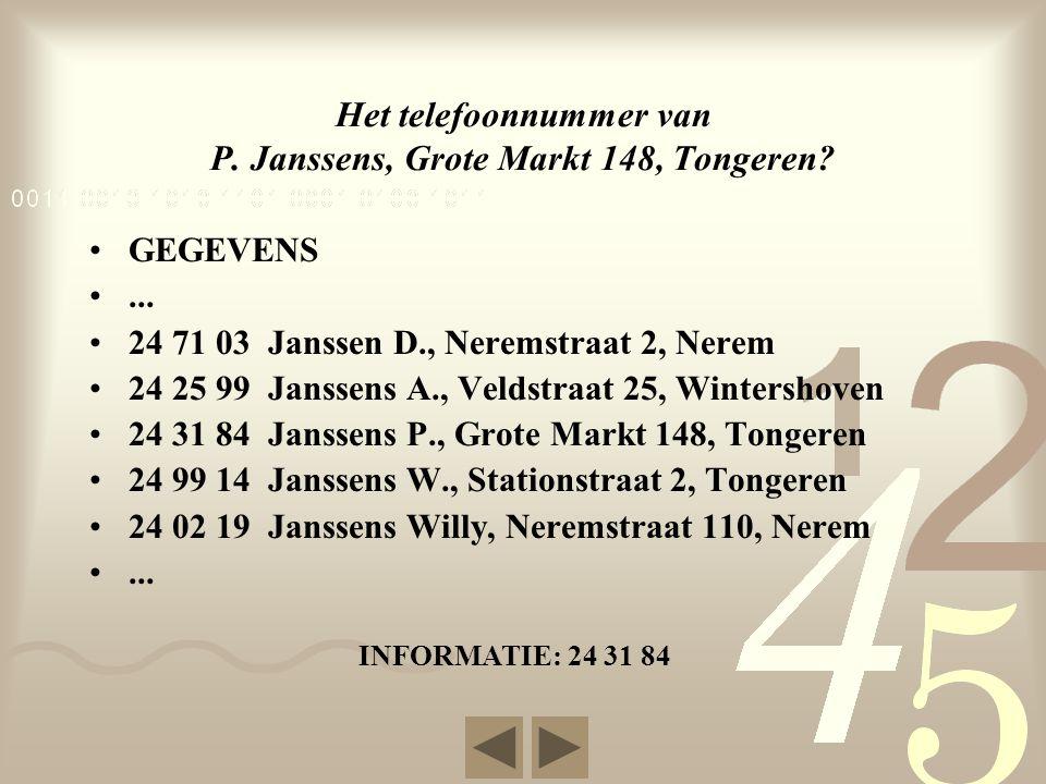 Het telefoonnummer van P. Janssens, Grote Markt 148, Tongeren.