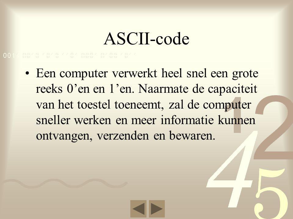 ASCII-code Een computer verwerkt heel snel een grote reeks 0'en en 1'en.