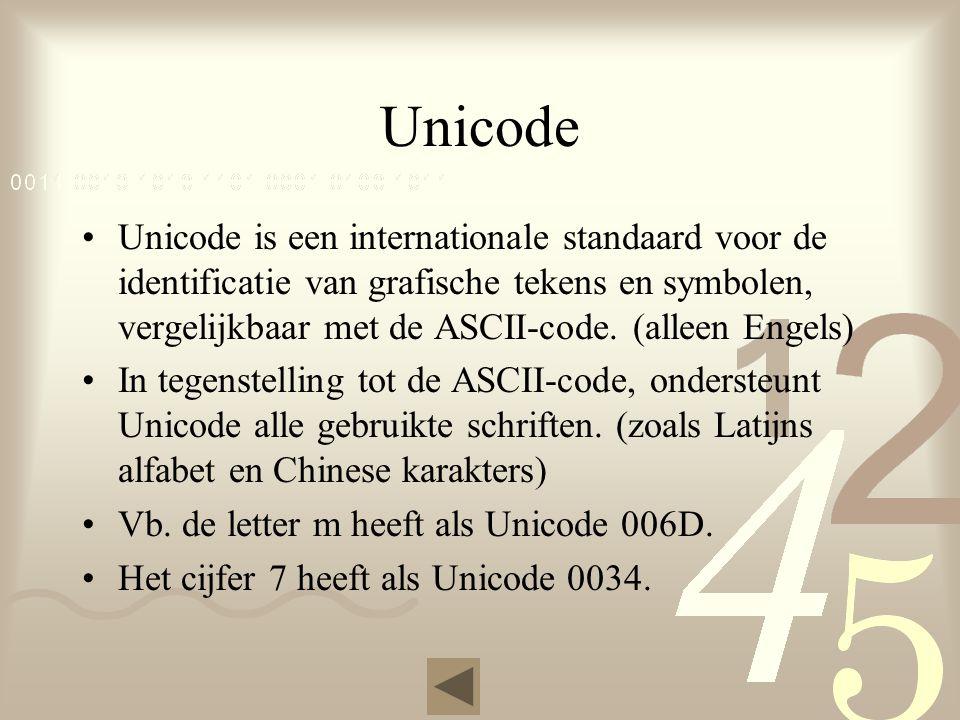 Unicode Unicode is een internationale standaard voor de identificatie van grafische tekens en symbolen, vergelijkbaar met de ASCII-code.