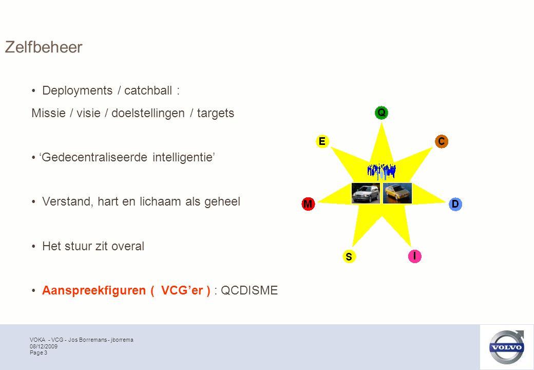 VOKA - VCG - Jos Borremans - jborrema Page 3 08/12/2009 Zelfbeheer Deployments / catchball : Missie / visie / doelstellingen / targets 'Gedecentraliseerde intelligentie' Verstand, hart en lichaam als geheel Het stuur zit overal Aanspreekfiguren ( VCG'er ) : QCDISME