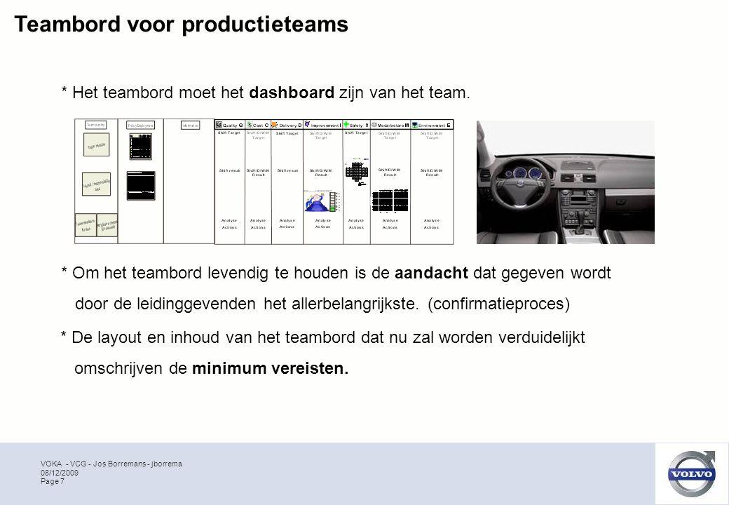 VOKA - VCG - Jos Borremans - jborrema Page 7 08/12/2009 Teambord voor productieteams * De layout en inhoud van het teambord dat nu zal worden verduidelijkt omschrijven de minimum vereisten.