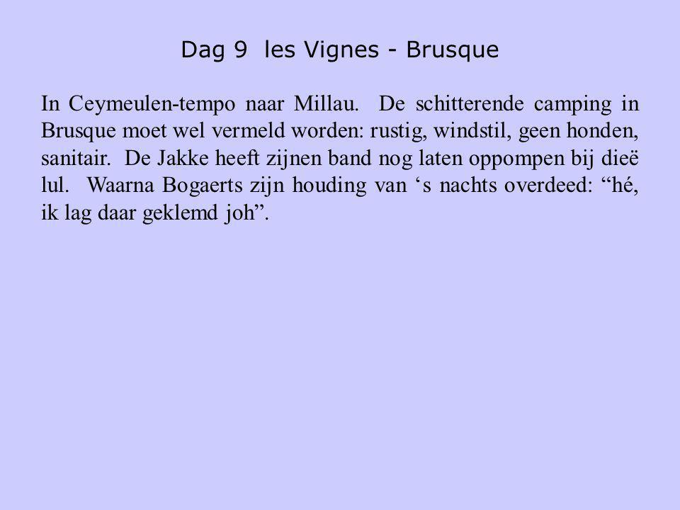 Dag 9 les Vignes - Brusque In Ceymeulen-tempo naar Millau. De schitterende camping in Brusque moet wel vermeld worden: rustig, windstil, geen honden,