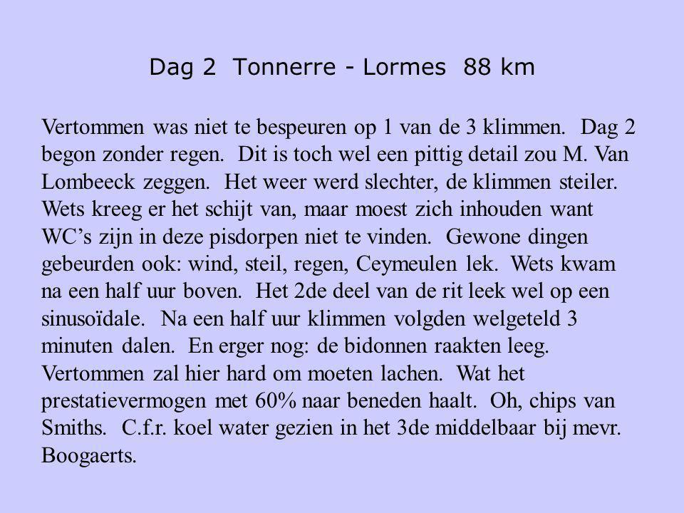 Dag 2 Tonnerre - Lormes 88 km Vertommen was niet te bespeuren op 1 van de 3 klimmen. Dag 2 begon zonder regen. Dit is toch wel een pittig detail zou M
