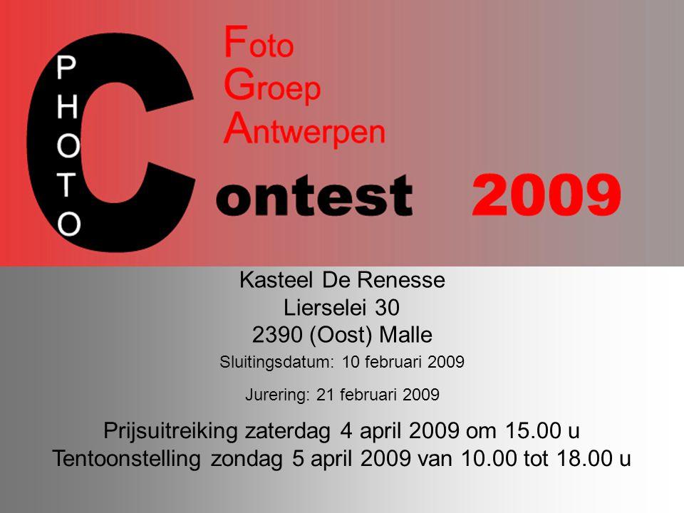Kasteel De Renesse Lierselei 30 2390 (Oost) Malle Prijsuitreiking zaterdag 4 april 2009 om 15.00 u Tentoonstelling zondag 5 april 2009 van 10.00 tot 1