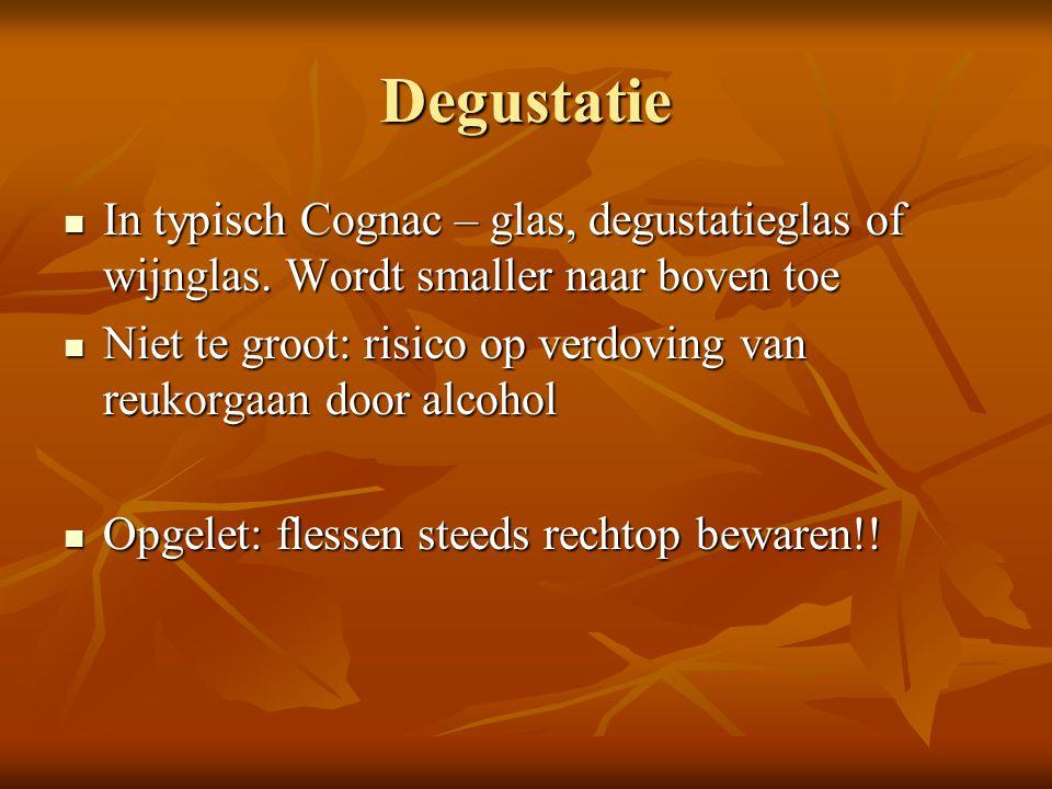 Degustatie In typisch Cognac – glas, degustatieglas of wijnglas. Wordt smaller naar boven toe In typisch Cognac – glas, degustatieglas of wijnglas. Wo