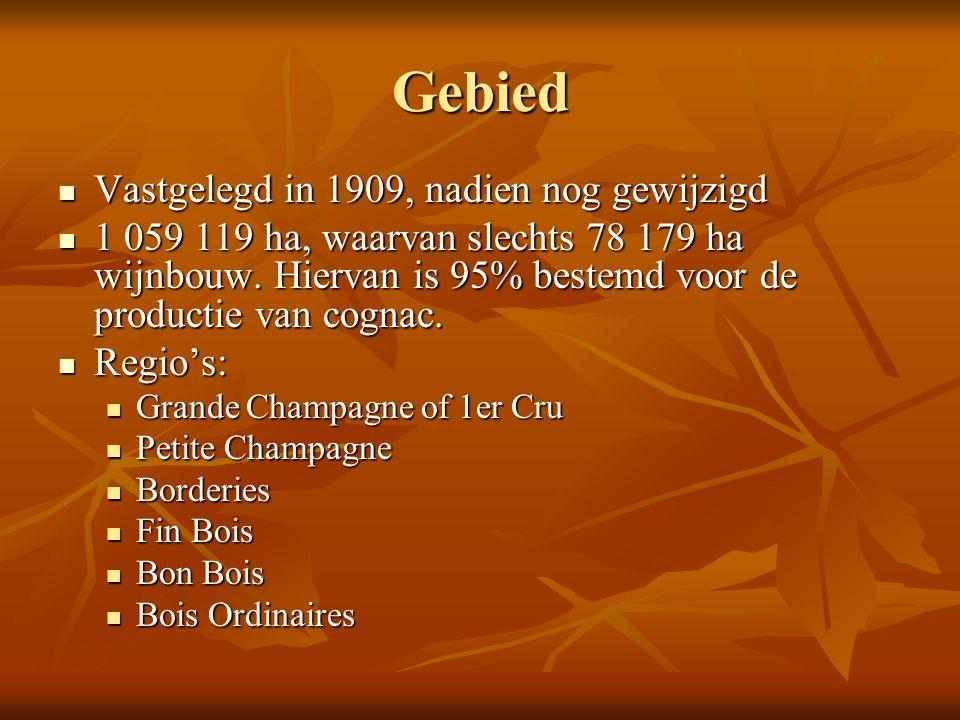Gebied Vastgelegd in 1909, nadien nog gewijzigd Vastgelegd in 1909, nadien nog gewijzigd 1 059 119 ha, waarvan slechts 78 179 ha wijnbouw. Hiervan is
