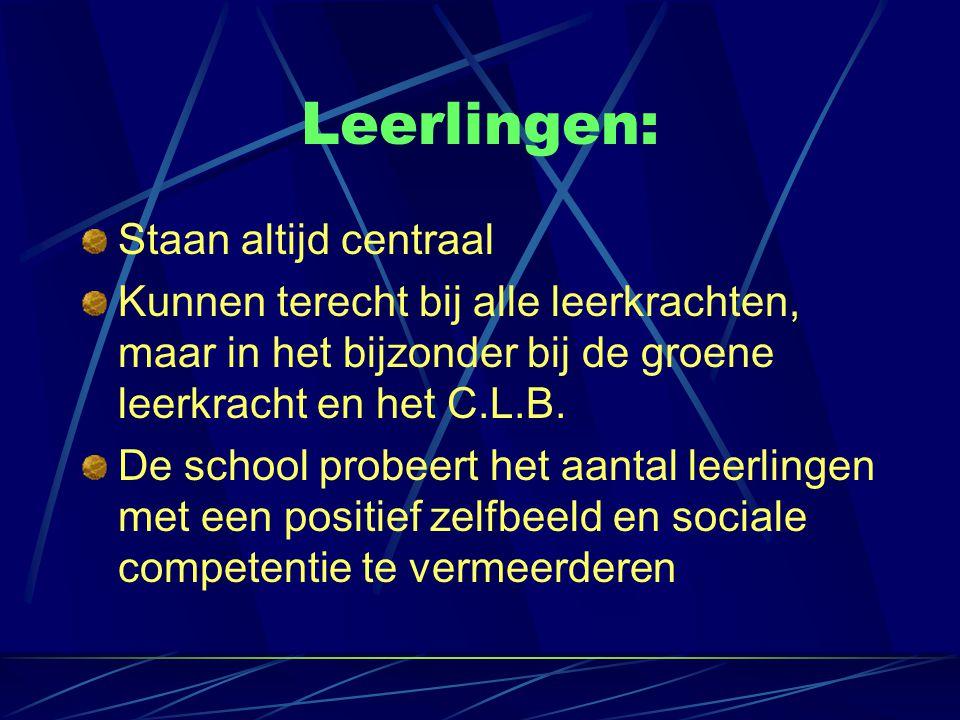 Leerlingen: Staan altijd centraal Kunnen terecht bij alle leerkrachten, maar in het bijzonder bij de groene leerkracht en het C.L.B.