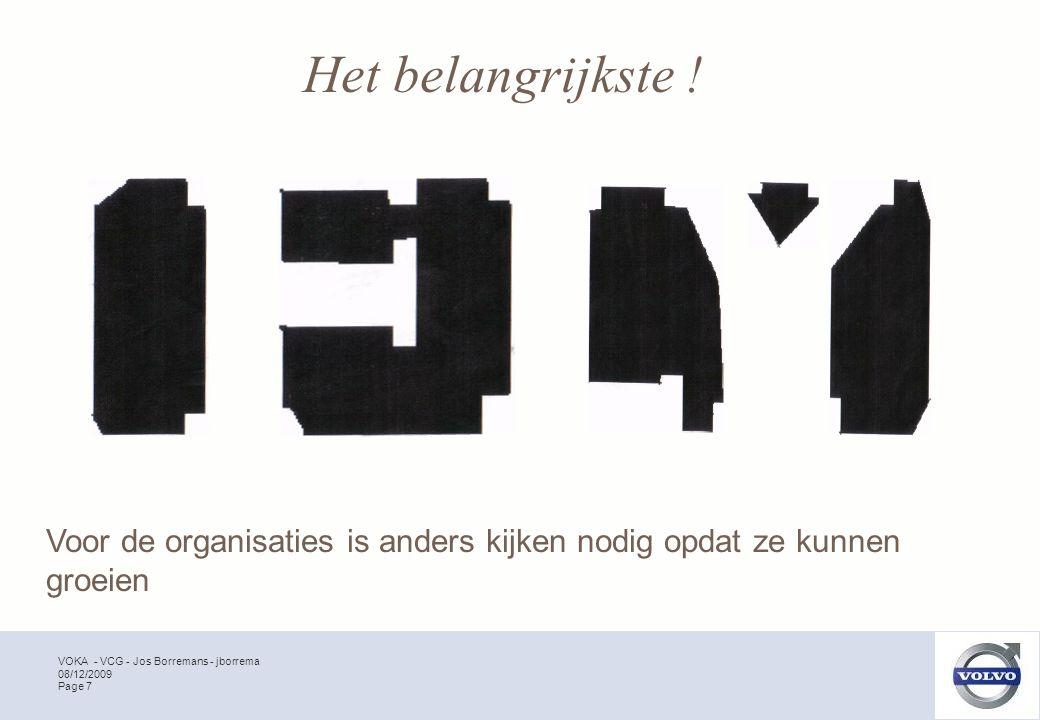 VOKA - VCG - Jos Borremans - jborrema Page 7 08/12/2009 Voor de organisaties is anders kijken nodig opdat ze kunnen groeien Het belangrijkste !