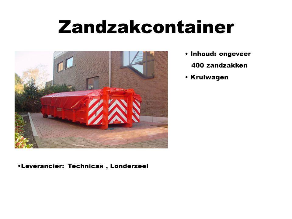 Zandzakcontainer Leverancier: Technicas, Londerzeel Inhoud: ongeveer 400 zandzakken Kruiwagen