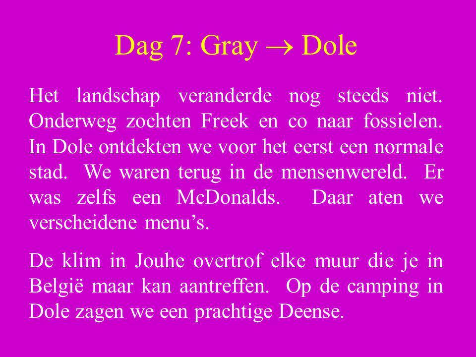 Dag 7: Gray  Dole Het landschap veranderde nog steeds niet. Onderweg zochten Freek en co naar fossielen. In Dole ontdekten we voor het eerst een norm