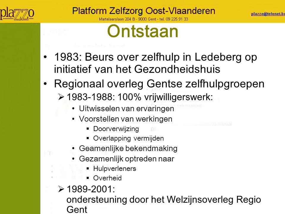 Ontstaan 1983: Beurs over zelfhulp in Ledeberg op initiatief van het Gezondheidshuis Regionaal overleg Gentse zelfhulpgroepen  1983-1988: 100% vrijwi