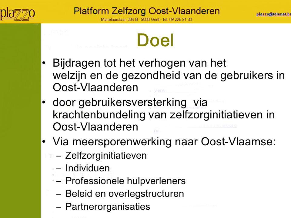 Doel Bijdragen tot het verhogen van het welzijn en de gezondheid van de gebruikers in Oost-Vlaanderen door gebruikersversterking via krachtenbundeling