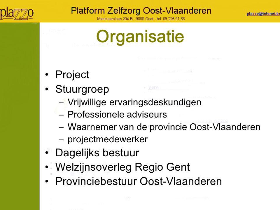 Organisatie Project Stuurgroep –Vrijwillige ervaringsdeskundigen –Professionele adviseurs –Waarnemer van de provincie Oost-Vlaanderen –projectmedewerk